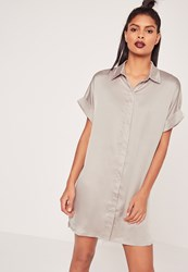 Missguided Satin Short Sleeve Shirt Dress Grey Grey