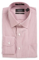 Men's Nordstrom Men's Shop Classic Fit Non Iron Stripe Dress Shirt Burgundy Beet