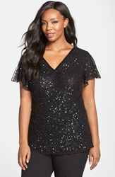 Adrianna Papell 'Dazzling Winds' Beaded V Neck Blouse Plus Size Black
