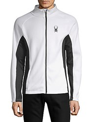 Spyder Colorblock Full Zip Sweater White