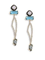 Alexis Bittar Elements Lace Agate And Crystal Dangle Drop Earrings Blue Agate
