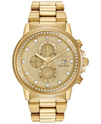 Citizen Unisex Chronograph Nighthawk Eco Drive Gold Tone Stainless Steel Bracelet Watch 42Mm Fb3002 53P