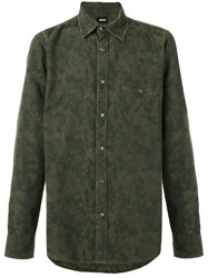 Hudson Camouflage Shirt Men Cotton S Green
