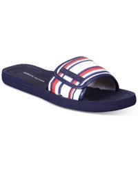 Tommy Hilfiger Mysha Slip On Flat Sandals Women's Shoes Red White Blue Stripes