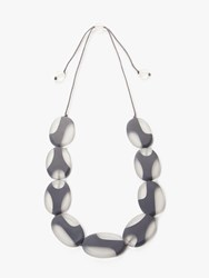 One Button Resin Ellipse Long Necklace Grey White