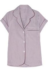 Bodas Verbier Striped Swiss Cotton Pajama Top Merlot