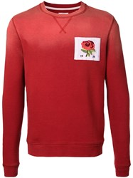 Kent And Curwen Floral Embroidery Sweatshirt Red