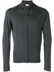 John Smedley High Neck Zipped Cardigan Merino L Grey
