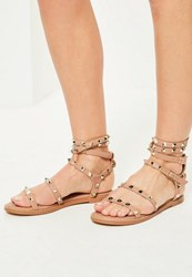 Missguided Pink Studded Multi Strap Gladiator Sandals