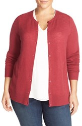 Sejour Plus Size Women's Crewneck Wool And Cashmere Cardigan Burgundy Bud
