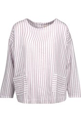 Current Elliott The Joni Striped Cotton Top Claret