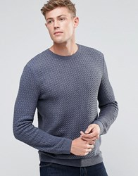 Asos Cable Knit Jumper With Rib Detail Denim Blue