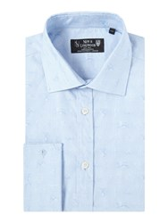 New And Lingwood Royal Jaquard Shirt With Cutwaway Collar Blue
