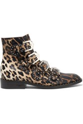 Givenchy Studded Ankle Boots In Leopard Print Leather Leopard Print