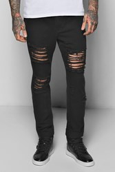 Boohoo Fit Rigid Destroyed Cropped Jeans Black
