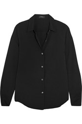 Theory Silk Crepe De Chine Shirt Black