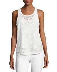 Rag And Bone Stella Floral Laser Cut Tank Top White