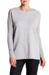 Vince Long Sleeve Knit Wool Blend Tunic Pullover Gray