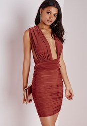 Missguided Do It Any Way Multiway Slinky Bodycon Dress Rust