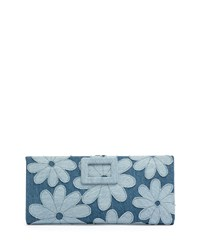 Floral Denim Marguerite Buckle Wallet Air Baltic Blue Roger Vivier