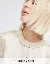 Asos Gold Plated Sterling Silver Ball Chain Choker Necklace Gold Plated