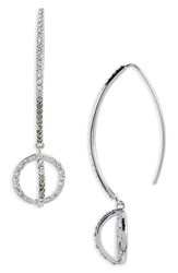 Judith Jack Women's Silver Sparkle Threader Earrings Black Diamond Marcasite