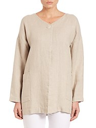 Eileen Fisher Hopsack Boxy Linen V Neck Jacket Undyed Natural