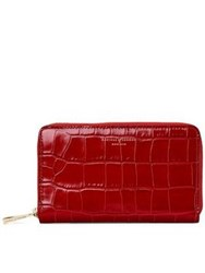 Aspinal Of London Continental Midi Croc Wallet Red