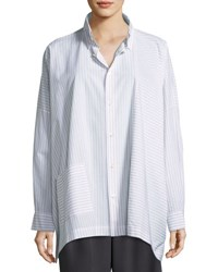 Eskandar Mixed Stripe Cotton Shirt White
