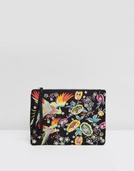 New Look Dove Embroidered Clutch Bag Black