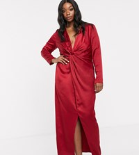 Little Mistress Plus Satin Wrap Maxi Dress In Ruby Red