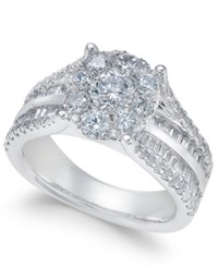 Macy's Diamond Cluster Engagement Ring 2 Ct. T.W. In 14K White Gold
