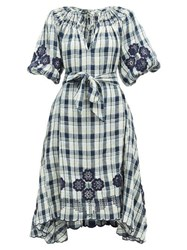 Innika Choo Hugh Jesmock Checked Linen Midi Dress Navy Multi