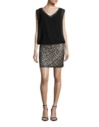 J Kara Beaded Sleeveless Blouson Dress Black Gold