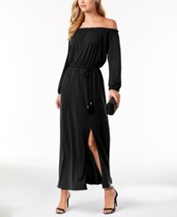 Nine West Tassel Belt Off The Shoulder Maxi Dress Black