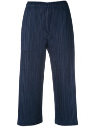 Issey Miyake Pleats Please By Plisse Cropped Trousers Women Polyester 2 Blue