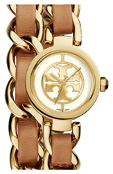 Tory Burch 'Mini Reva' Double Wrap Chain Watch 20Mm Luggage Gold