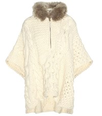 Woolrich Wool And Alpaca Blend Sweater With Fur White