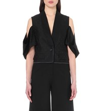 Givenchy Exposed Shoulder Jacquard Waistcoat Black