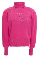 Magda Butrym Woman Holley Embellished Wool And Cashmere Blend Turtleneck Sweater Fuchsia