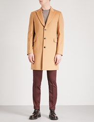 Paul Smith Epsom Single Breasted Wool And Cashmere Blend Coat Camel
