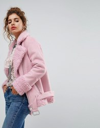 House Of Holland H By Henry Oversized Faux Shearling Jacket Pink