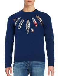 Paul And Joe Wool Feather Embroidered Sweater Bleu