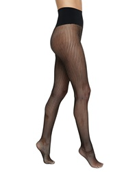 Commando Chelsea Striped Net Tights Black