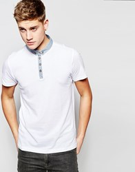 Brave Soul Contrast Collar Polo Shirt White