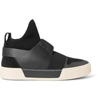 Balenciaga Suede Leather And Mesh High Top Sneakers Black