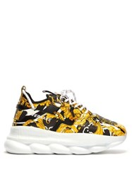 Versace Chain Reaction Baroque Print Sneakers Black Yellow