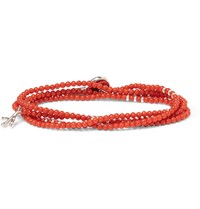 Isaia Saracino Coral And Silver Wrap Bracelet Red