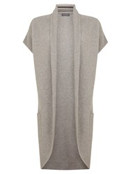 Mint Velvet Sleeveless Rib Cardigan Grey