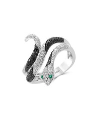 Effy White And Black Diamond Emerald And 14K White Gold Ring